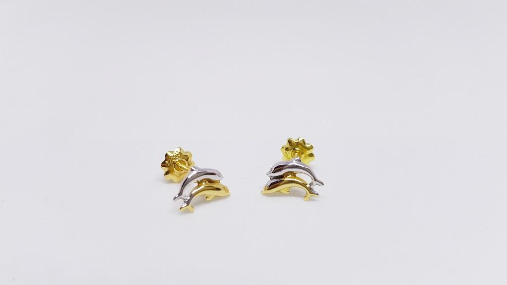 57c4d048c996 Pendientes de Oro para Mujer  Pendientes Delfines Bicolor